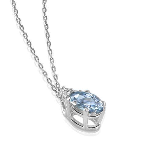 Collana Mey in Oro Bianco con Acquamarina e Diamanti | Ovale - CDMEY 3ACQ