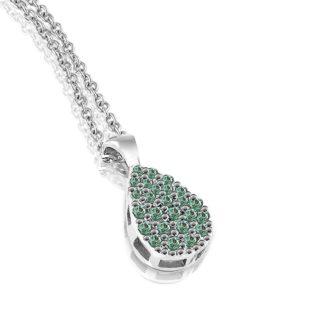 Collana Mey in Oro Bianco con Smeraldi | Goccia - CDMEY CGA-EM
