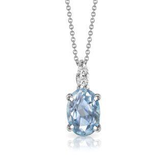 Collana Mey in Oro Bianco con Acquamarina e Diamanti | Ovale - CDMEY CLA-A1