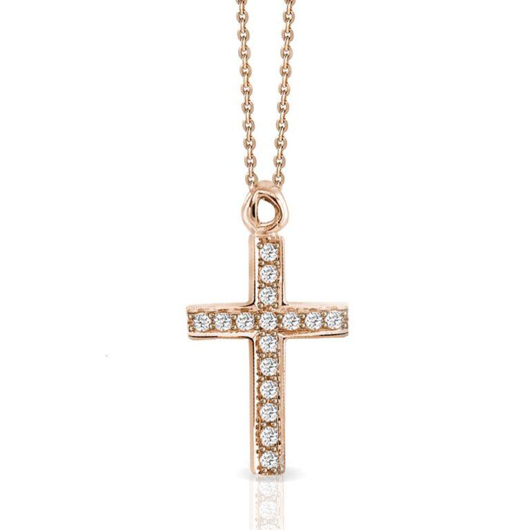 Collana Mey in Oro Rosa con Diamanti | Croce - CDMEY CLA-AR