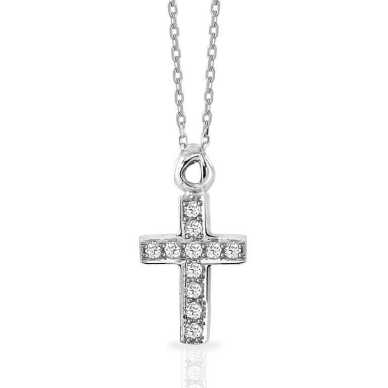 Collana Mey in Oro Bianco con Diamanti | Croce - CDMEY CLA-BW