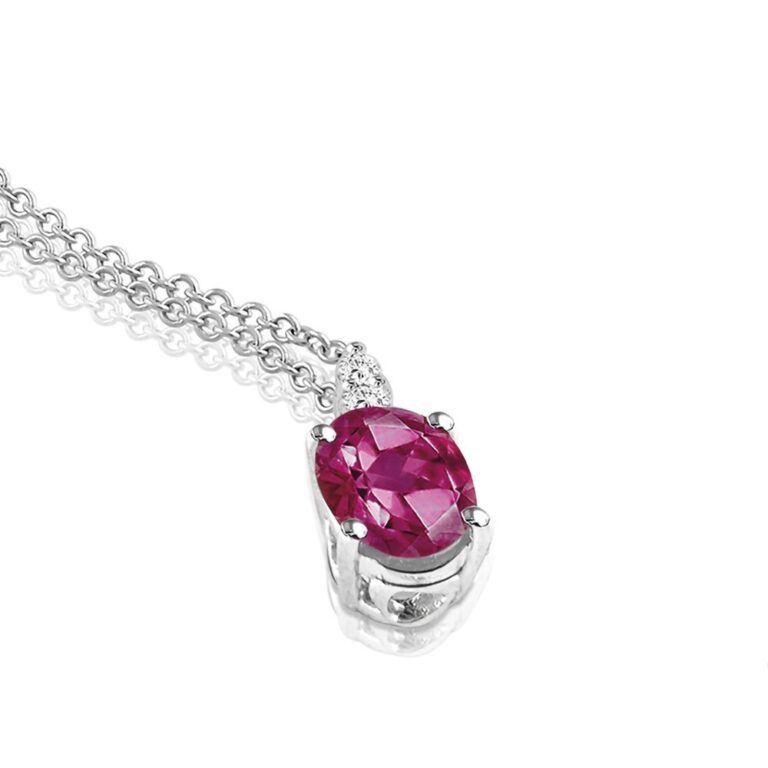 Collana Mey in Oro Bianco con Rubino e Diamanti | Ovale - CDMEY CLA-R1