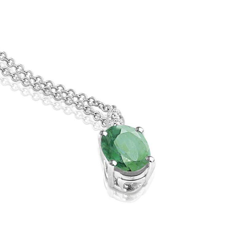 Collana Mey in Oro Bianco con Smerlado e Diamanti | Ovale - CDMEY CLA-S1