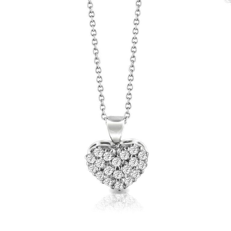 Collana Mey in Oro Bianco con Diamanti   Cuore - CDMEY HRT-DW