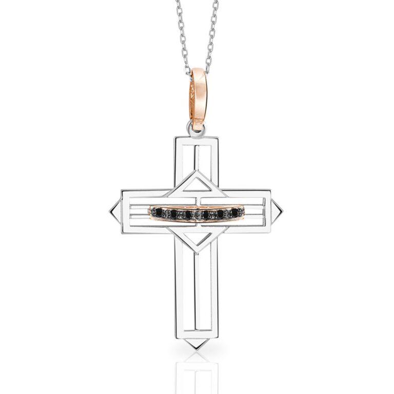 Collana Mey in Oro Bianco e Rosa con Diamanti Neri | Croce - CDMEY LSR-A10