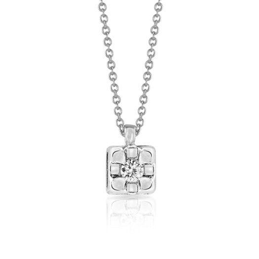 Collana Punto Luce Mey in Oro Bianco con Diamante - CDMEY/TRN