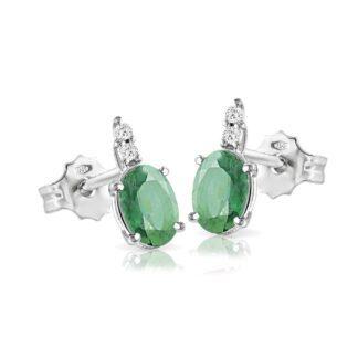 Orecchini Mey in Oro Bianco con Smeraldi e Diamanti - ORMEY CLA-S1