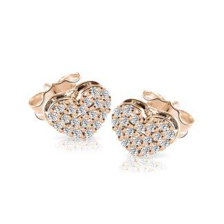 Orecchini Mey in Oro Rosa con Diamanti   Cuore - ORMEY HRT-DR