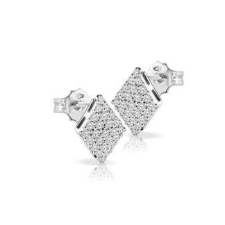 Orecchini Mey in Oro Bianco con Diamanti | Rombo - ORMEY RMB-DW