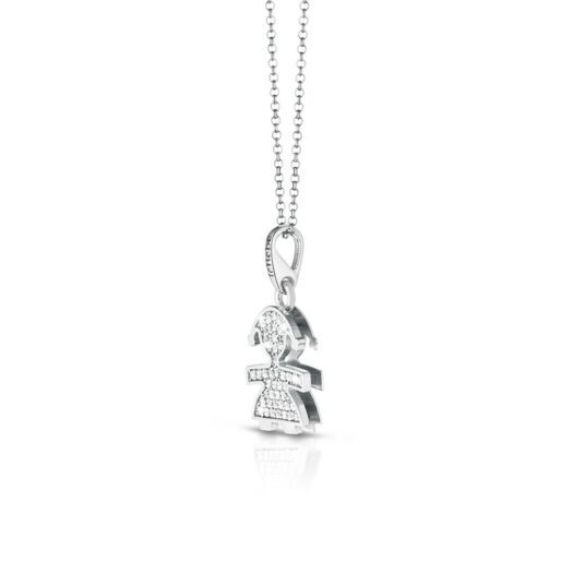 Collana Le Bebè Bimba in Oro Bianco con Diamanti - I Pavè - LBB152