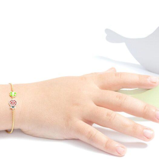 Bracciale Le Bebè in Oro Giallo e Smalto | Quadrifoglio e Coccinella - Primegioie - PMG032