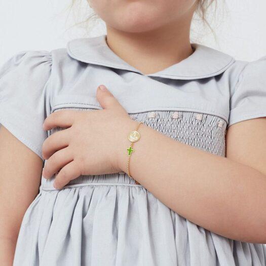 Bracciale Le Bebè in Oro Giallo e Smalto con Colomba e Croce - Proteggimi - PMG081