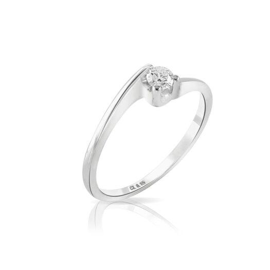 Anello Solitario Mey in Oro Bianco con Diamante - ANMEY/SO-F