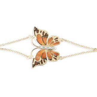 Bracciale Artlinea in Oro Giallo e Smalto con Zirconi | Farfalla - BEA581-MG