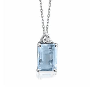 Collana Mey in Oro Bianco con Diamanti e Acquamarina - CDMEY/1OTT