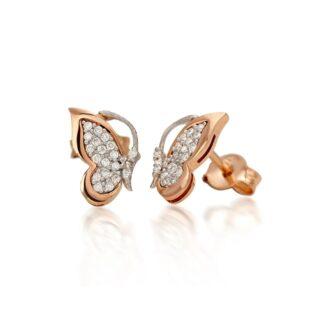 Orecchini Artlinea in Oro Bianco e Rosa con Diamanti | Farfalla - OD236-LK