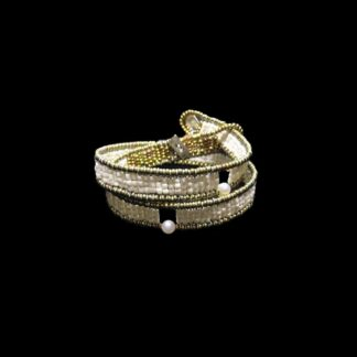 Bracciale Ziio in Argento e Vetro di Murano con Perle e Onice - BR BOA GOIABA PERLA