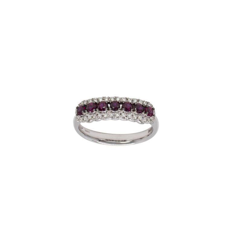 Anello Davite&Delucchi in Oro Bianco con Diamanti e Rubini - AA031513RB