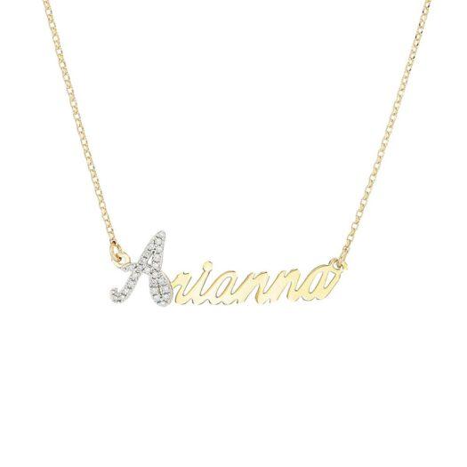 Collana con Nome Artlinea in Oro con Pavé Diamanti | - ZD3NOME