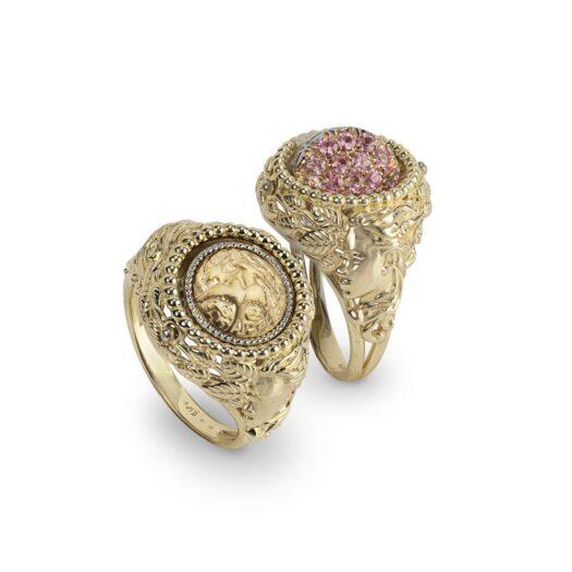 Anello Gerardo Sacco in Oro Giallo con Zaffiri Rosa   Marzo - Reverse Oro - 14286MAR