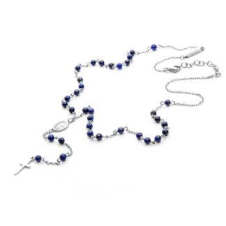 Collana Rosario 4US Paciotti in Acciaio con Lapislazzuli Croce - Blue Rosary - 4UCL3750