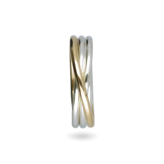 Anello 3 Fili in Oro Giallo e Argento - Classic - AN8AG