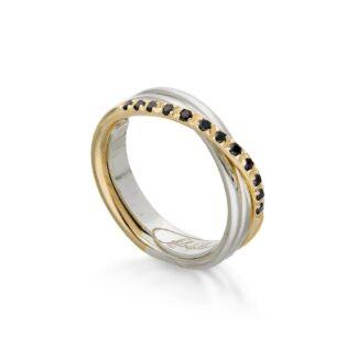 Anello 3 Fili in Oro Giallo e Argento con Diamanti Neri - Classic - AN8AGBN