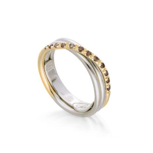 Anello 3 Fili in Oro Giallo e Argento con Diamanti Brown - Classic - AN8AGBR