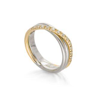 Anello 3 Fili in Oro Giallo e Argento con Diamanti - Classic - AN8AGBT