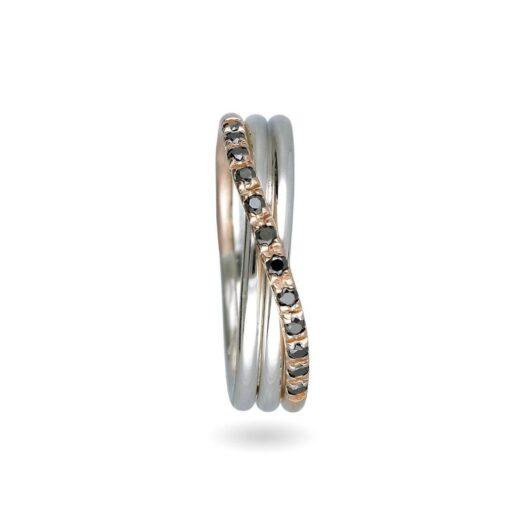 Anello 3 Fili in Oro Rosa e Argento con Diamanti Neri - Classic - AN8ARBN