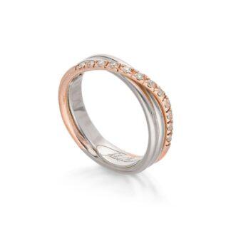 Anello 3 Fili in Oro Rosa e Argento con Diamanti - Classic - AN8ARBT