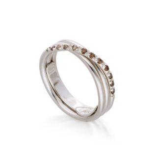 Anello 3 Fili in Oro Bianco con Diamanti Brown - Classic - AN8BBR
