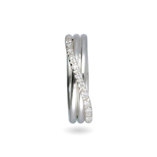 Anello 3 Fili in Oro Bianco con Diamanti - Classic - AN8BBT