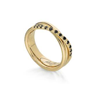 Anello 3 Fili in Oro Giallo con Diamanti Neri - Classic - AN8GBN