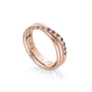 Anello 3 Fili in Oro Rosa con Diamanti Brown - Classic - AN8RBR