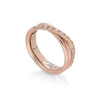 Anello 3 Fili in Oro Rosa con Diamanti - Classic - AN8RBT