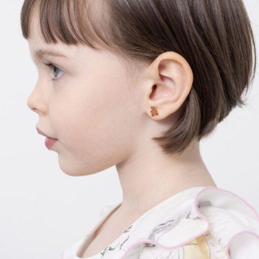 Orecchini Le Bebè in Oro Giallo e Smalto | Orsetto e Cuore - Primegioie - PMG057