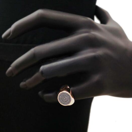 Anello Artlinea in Oro Rosa con Diamanti Neri - Chevalier - AD822-DN-L1
