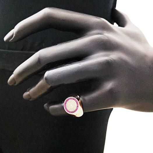 Anello Artlinea in Oro Bianco con Diamanti e Zaffiri - Chevalier - AD823-ZB-LL
