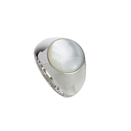 Anello Artlinea in Oro Bianco con Madreperla Bianca - Chevalier - AD831-MB-LB