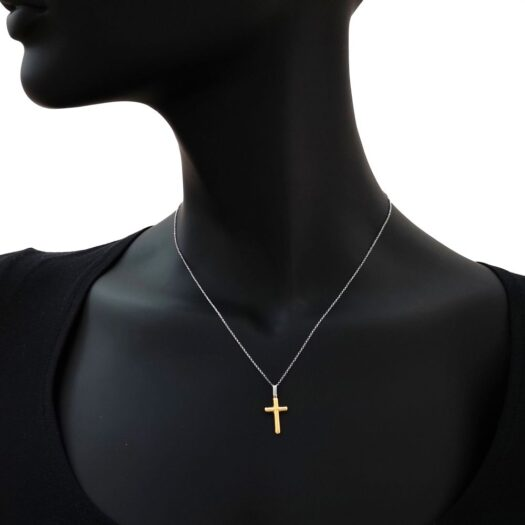 Collana Artlinea in Oro Giallo e Bianco Croce - Croci Gold - CEA2464-LO