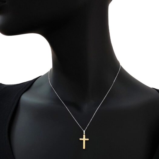 Collana Artlinea in Oro Giallo e Bianco Croce - Croci Gold - CEA2465-LO