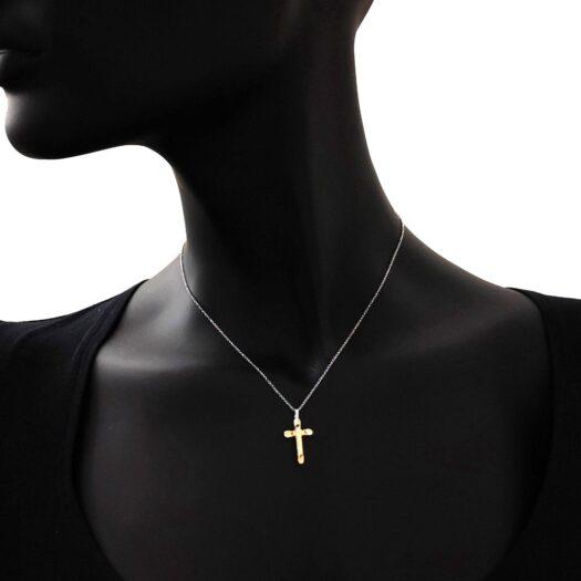 Collana Artlinea in Oro Giallo e Bianco Croce - Croci Gold - CEA2467-LO