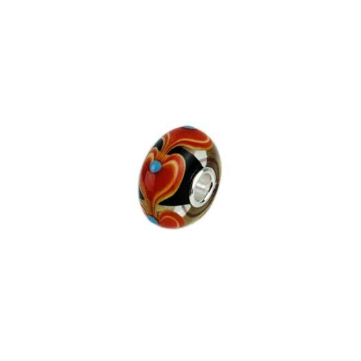Bead Unico Trollbeads in Vetro di Murano e Argento | Cuore e Turchese