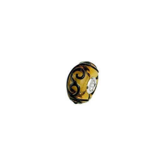 Bead Unico Trollbeads in Vetro di Murano e Argento   Ghirigori Ambra