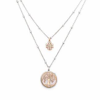 Collana Amen in Argento e Zirconi con Ciondoli Rosè - Albero della Vita - CL2AL1