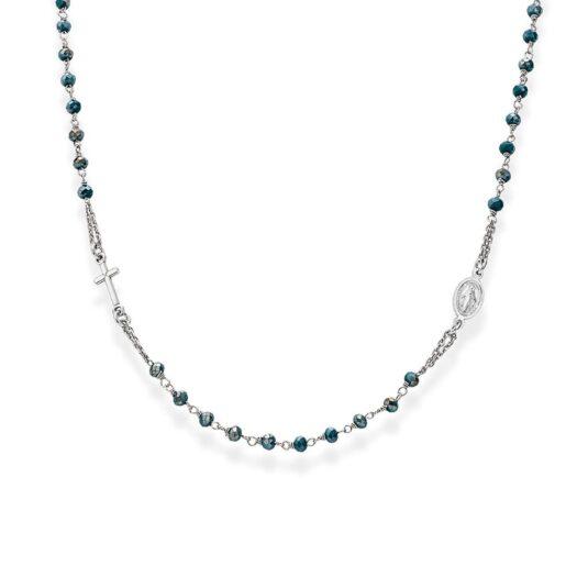 Collana Rosario Amen in Argento e Cristalli con Croce - Rosari - CROBP3