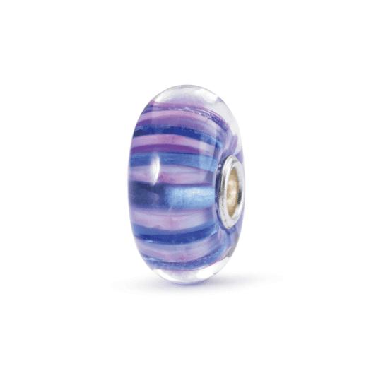 Beads Trollbeads in Argento e Vetro di Murano - Strisce Indaco - TGLBE-10327