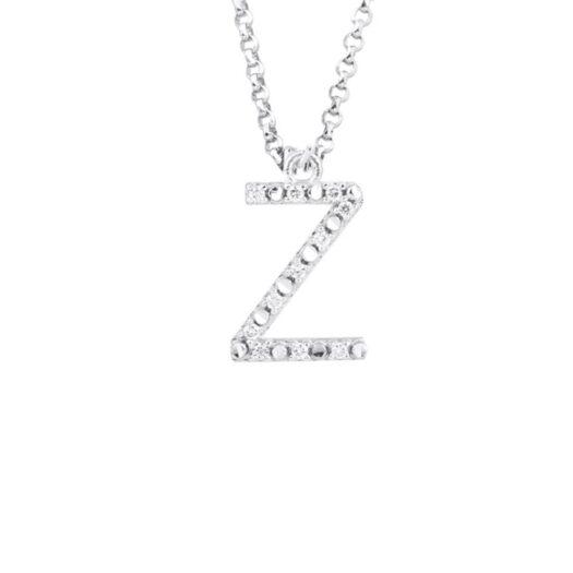 Collana con Iniziale Artlinea in Oro Bianco con Diamanti - Nomi e Iniziali Diamond - CFF029-4B