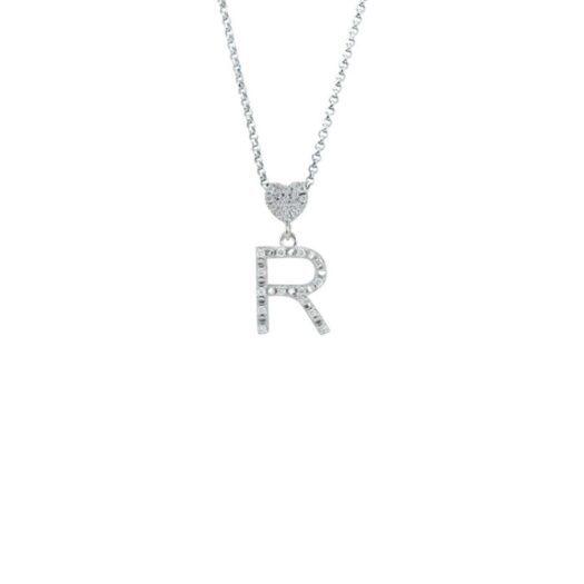 Collana con Iniziale Artlinea in Oro Bianco con Diamanti - Nomi e Iniziali Diamond - CFF030-4B